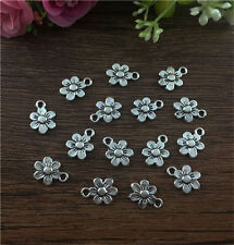 20pcs flower Tibetan Silver fit Pendants bracelet beaded Charms DIY