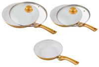 Cermaicore Set of 5 Gold Frying Pan Set Induction Non Stick With Lids