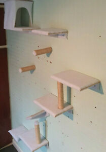 WHITE FLUFFY and Padded Cat Wall Shelves WITH MASONRY FIXINGS | Made in UK