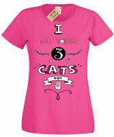 I Was Normal 3 Cats Ago T-Shirt funny cat lover gift Womens Ladies
