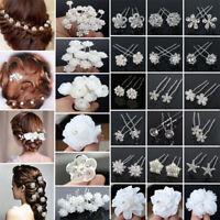 20/40Pcs Lot Wedding Bridal Pearl Rose Flower Hair Pins Rhinestone Crystal Clips