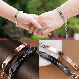 Stainless Steel His Queen Her King Bracelet Matching Set Titanium Wristband Gift