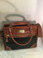 Samantha Brown Black Brown Croc Embossed Travel Bag Carry On Luggage