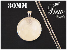 10 x DIY 30mm Round silver color necklace kit circle glass, pendant tray,chain