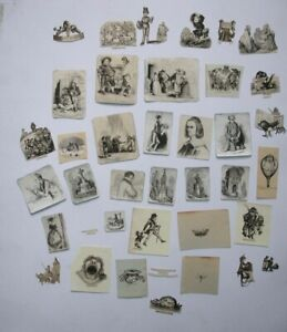37 small engravings  from a scrap book CARICATURES humour