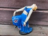 Vintage Art Deco Made in Japan Ceramic Dancer Woman Figurine w Blue Dress 7.5""