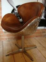 Aviation Brown Leather & Metal Chair - Dining / Desk Use