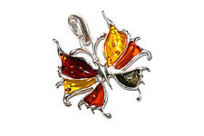 925 Sterling Silver & Baltic Amber Butterfly Pendant Necklace + Chain Jewellery