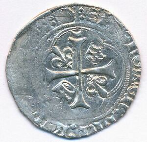 1483 - 1498 France French King Charles VIII Bordeaux Cross Medieval Silver Coin