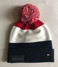 NWT Mens Tommy Hilfiger Logo Pom Pom Cuffed Beanie Ski Hat Cap Red White Navy