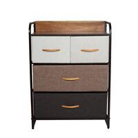 Home Dresser Storage Chest Tower 4 Fabric Drawers Metal Frame Organizer Cabinet