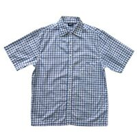 PENN Mens White With Blue Check Short Sleeve Shirt Size L