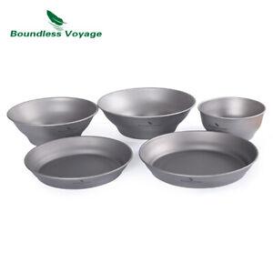 Titanium Bowl Dish Ultralight Single-Walled Bowls Plates Set Camping Tableware