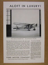 1930 Ford Trimotor Deluxe Club Airplane aircraft photo vintage print Ad