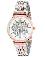 Emporio Armani AR1926 Silver Two Tone White Crystal Pave Dial Ladies Wrist Watch