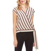 Vince Camuto Womens Striped Faux-Wrap Sleeveless Top Shirt BHFO 4251