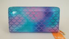 Holographic Rainbow Tie Dye Ombre Mermaid Fish Scales Zippered Clutch Wallet
