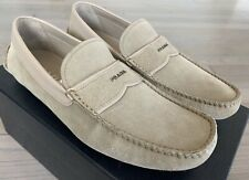 $550 Prada Tan Suede Drivers Size US 10.5 Made in Italy