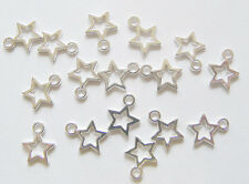 30 Silver Plated Open Star Charms Pendants, Hollow Outline Star Charms - 12mm