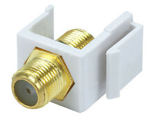 F-Type Coax Keystone Insert Jack Connectors Adapters RG59 RG6 White (New)