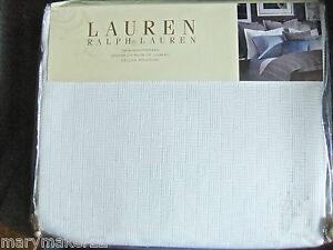 NIP $220 Ralph LaurenTWIN Night Bedspread Jermyn Street White Woven Cotton