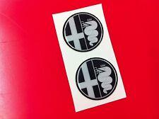 2 Adesivi Resinato Sticker 3D ALFA ROMEO 40 mm black old