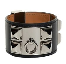 Black Leather Silver Stud Cuff Bracelet