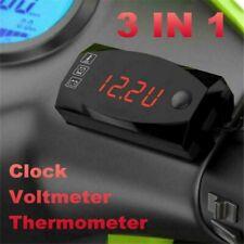 Air Temperature Gauge Led Voltmeter Volt Thermometer Meter Motorcycle Universal