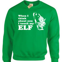 I TOUCH MY ELF Mens funny xmas Christmas Jumper sweatshirt gift present novelty