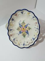 Vintage Handmade RCCL Portugal Ceramic Reticulated Bowl Hand Painted Floral