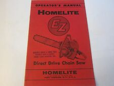 NEW OLD STOCK 1956 Homelite EZ Direct Drive Chainsaw Operator's Manual  LG5