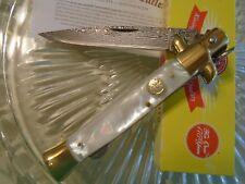 """Kissing Crane Genuine Pearl Damascus Stiletto Pocket Knife Dagger 5479 9"""" Open"""