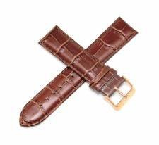 "Lucien Piccard 22MM Alligator Grain Real Leather Watch Strap 8"" LIGHT BROWN"