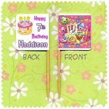 20 PERSONALISED SHOPKINS CUP CAKE FLAG Party Pick Topper Decoration Birthday