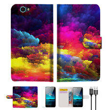 Colorful Cloud Wallet Case Cover For ZTE Blade A610-- A021
