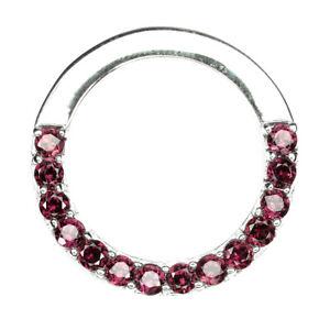 Unheated Round Pink Rhodolite Garnet 3mm 925 Sterling Silver Pendant