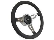 1969 - 1994 9 Bolt TRI Spoke Leather Steering Wheel Kit w/ Silver SS Emblem