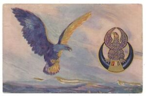 Fraternal Order of Eagles Postcard - Eagle in Mid Flight Greeting Emblem c.1911
