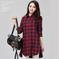 Women Ladies Button Collar Tartan Check Print Shirt Dress Longline Top