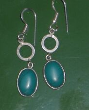 """TURQUOISE STERLING SILVER plated 1.75"""" EARRINGS, I WANT THESE!!!"""