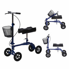 HomCom Steerable Knee Walker Adjustable Foldable Scooter Brake Medical Blue