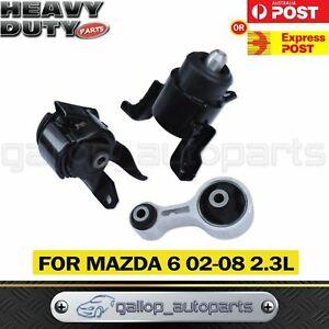 Fit Mazda 6 02-08 2.3L Engine Mount LH, RH & Rear Set of 3 pcs Auto / Manual