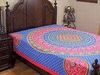 Blue Pink Mandala Elephant Bedding Cotton Tapestry Dot Print Bed Sheet Full