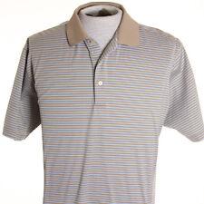 Peter Millar Mens L Large Light Blue Brown Stripe Polo Golf Shirt Cotton