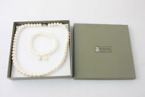 .925 Sterling Silver Honora PEARL JEWELLERY SET inc. Necklace, Bracelet, Boxed