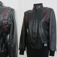 Vintage Yamaha Motorcycle Jacket Women's Medium Ladies Black Red Maxim Wear