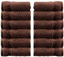 WhiteClassic Luxury Cotton Washcloths - 13x3 Hotel Face Towel | Brown 12/Pack