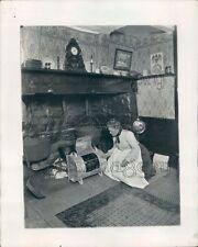 1967 Woman in Pioneer Dress Using Vintage Breadmaker Big Fireplace Press Photo