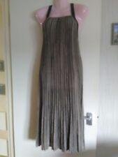 New Next ladies dress size M petite stripe brown black tie back long uk 12 14