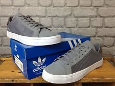 ADIDAS MENS UK 10 EU 44 2/3 GREY COURT VANTAGE LEATHER AND MESH TRAINERS